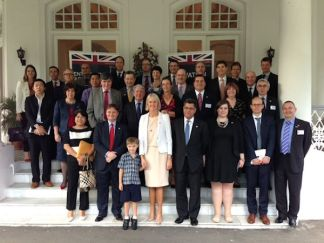 APPG mission in front of the Ambassador's Residence in Singapore, joined by the Ambassador's youngest son, and ace footballer, Hamish Phillipson
