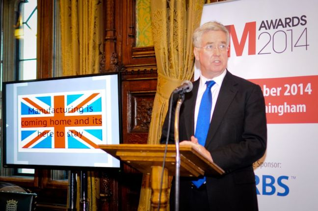 Business Minister Michael Fallon delivering the keynote speech