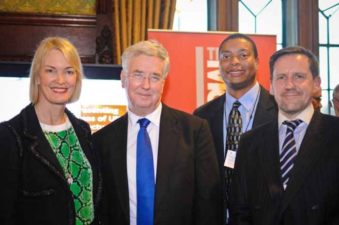 Margot James MP, Business Minister Michael Fallon, Mike Patton of GE Aviation and Peter Russell of RBS