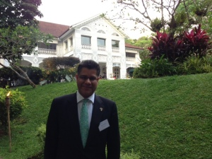 Alok Sharma outside the British Ambassador's residence in Singapore